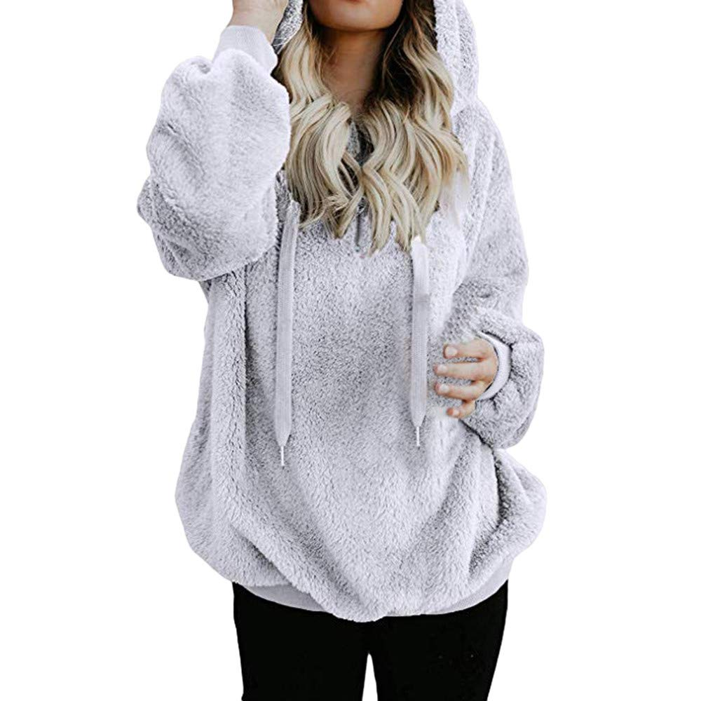 BOLUOYI Oversized Sweaters for Women 2020 Fuzzy Casual Loose Sweatshirt Hooded with Pockets Outwear Tops Blouse (XXXL, White) by BOLUOYI