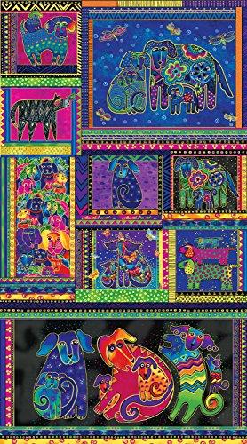 Quilt Fabric Clothworks - 1 Panel Dogs & Doggies Laurel Burch Clothworks cotton quilt fabric Y1795-56M Multi Bright Metallic