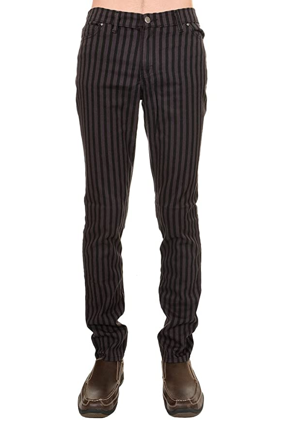 Retro Clothing for Men | Vintage Men's Fashion Mens Indie Vintage Retro 60s 70s Mod Black Grey Striped Stretch Skinny Jeans $51.95 AT vintagedancer.com