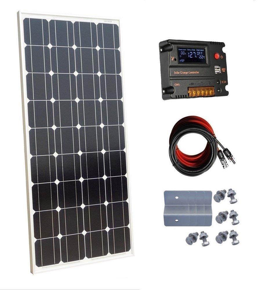 Placa Solar ECO-WORTHY 100 W 12 V Monocristalino Panel Solar con controlador de carga de 10 a para off-Grid sistema de batería de 12 voltios