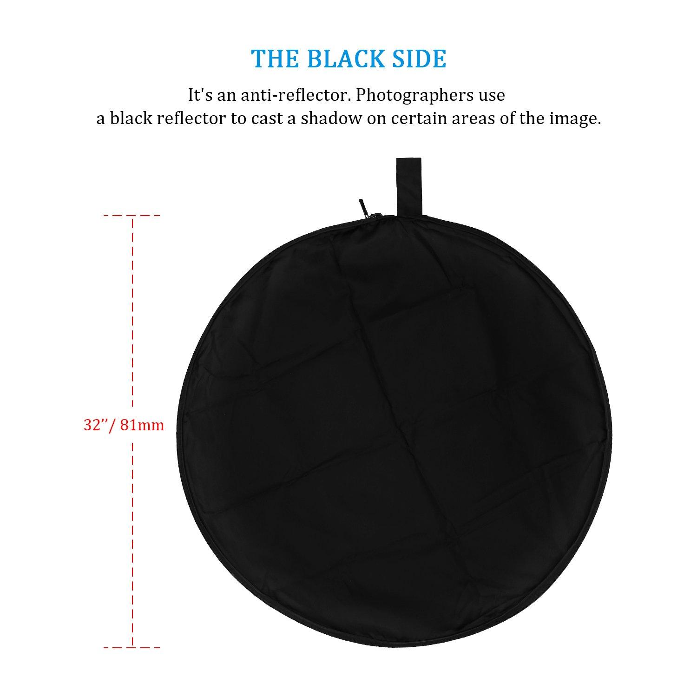ESDDI 81cm 5 en 1 Reflectores Fotografia Professional Reflector de luz Plegable de Discos múltiples, Color Negro, Oro, Plata, Transparente, ...