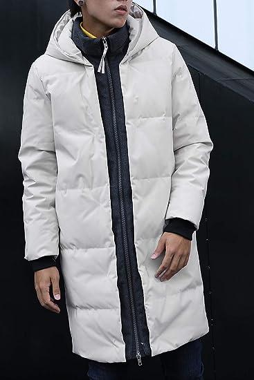 60141860b729 Herren Winter Lange Daunen Jacke Mantel Warm mit Kragen Kapuze Gefüttert  Funktions Kapuzenjacke Mantel Parka Daunen,Schwarz Beige  Amazon.de   Bekleidung