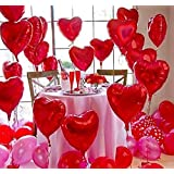 Crazy Sutra Valentine Love Heart Shaped Aluminum Film Foil Balloons (Red_Pack of 10)