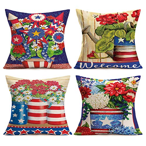 (Aremetop Set of 4 Independence Day Throw Pillow Covers Creative Art Red Blue Stars Stripes Print Flower Vase Blossom Decorative Cotton Linen Pillow Cases 18x18 Inches Square Cushion Cover)