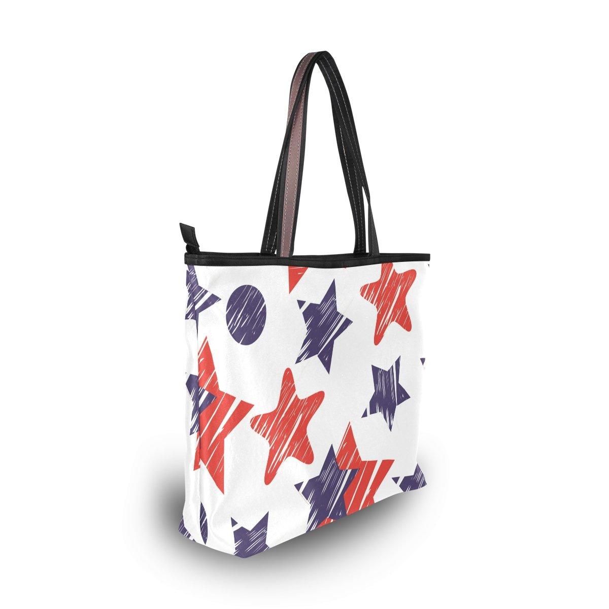 DEYYA Women Large Tote Bag July 4Th Independence Day American Flag Stars Shoulder Handbags Satchel Messenger Bags for Ladies
