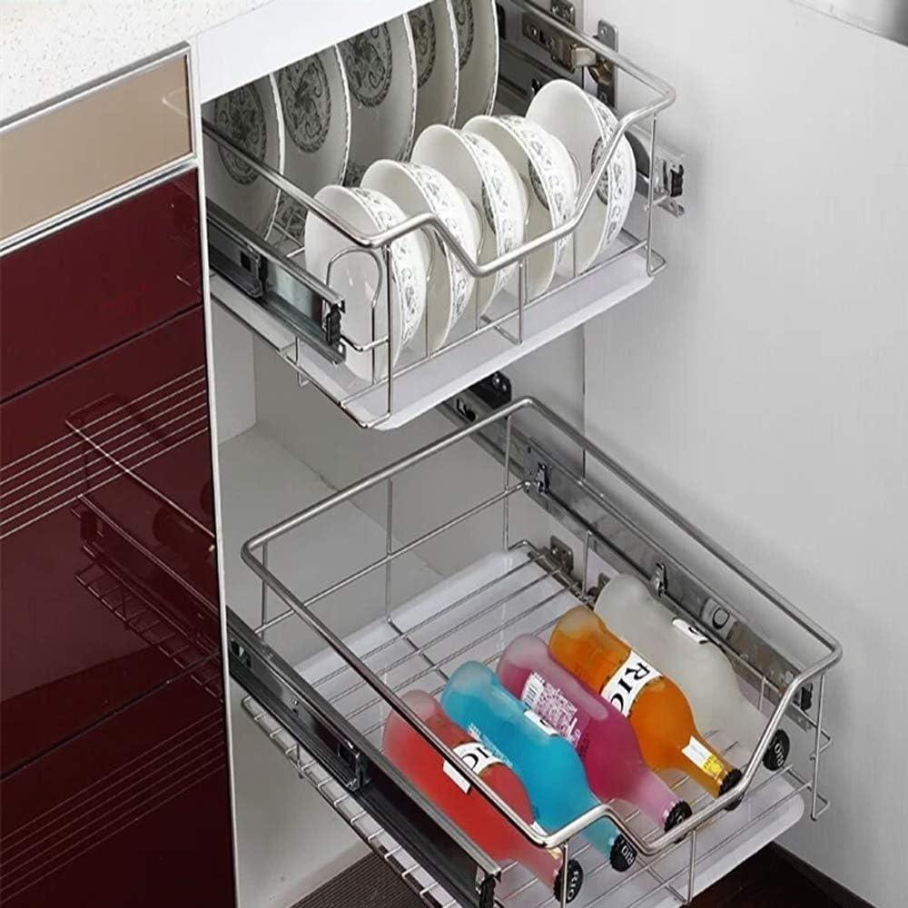 UISEBRT 2x Tiroir T/él/éscopique de Cuisine Tiroir T/élescopique 50cm Panier de Rangement Coulissant Cuisine 50cm