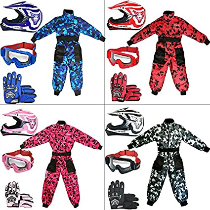 Leopard Kids Children Motorbike Motocross Set { CAMO Suit XS (3-4 Yrs) + Helmet & Gloves M (51-52cm) + Goggles } Pink Touch Global Ltd