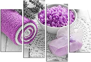Nachic Wall 4 Piece SPA Canvas Wall Art Black and White Purple Spa Treatment Salt Picture Painting Zen Still Life Artwork for Beauty Salon Bathroom Wall Decor Stretched and Framed Ready to Hang