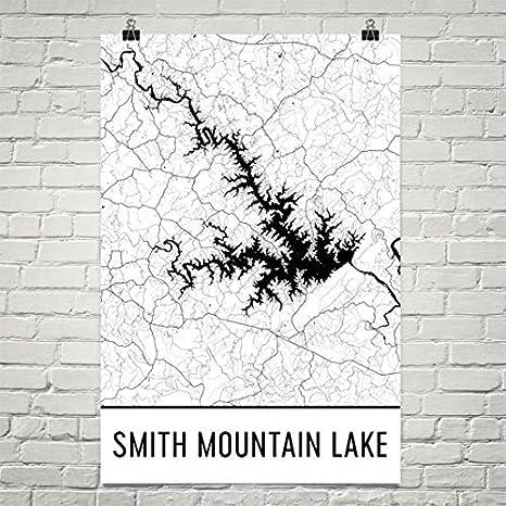 Carte Moderne Art Smith Mountain Lake Virginie, Smith Mountain Lake VA, Carte de Smith Mountain Lake, Carte de la Virginie, Carte du lac, Smith Lake Art du lac, Affiche de la Virginie Art 24'x36