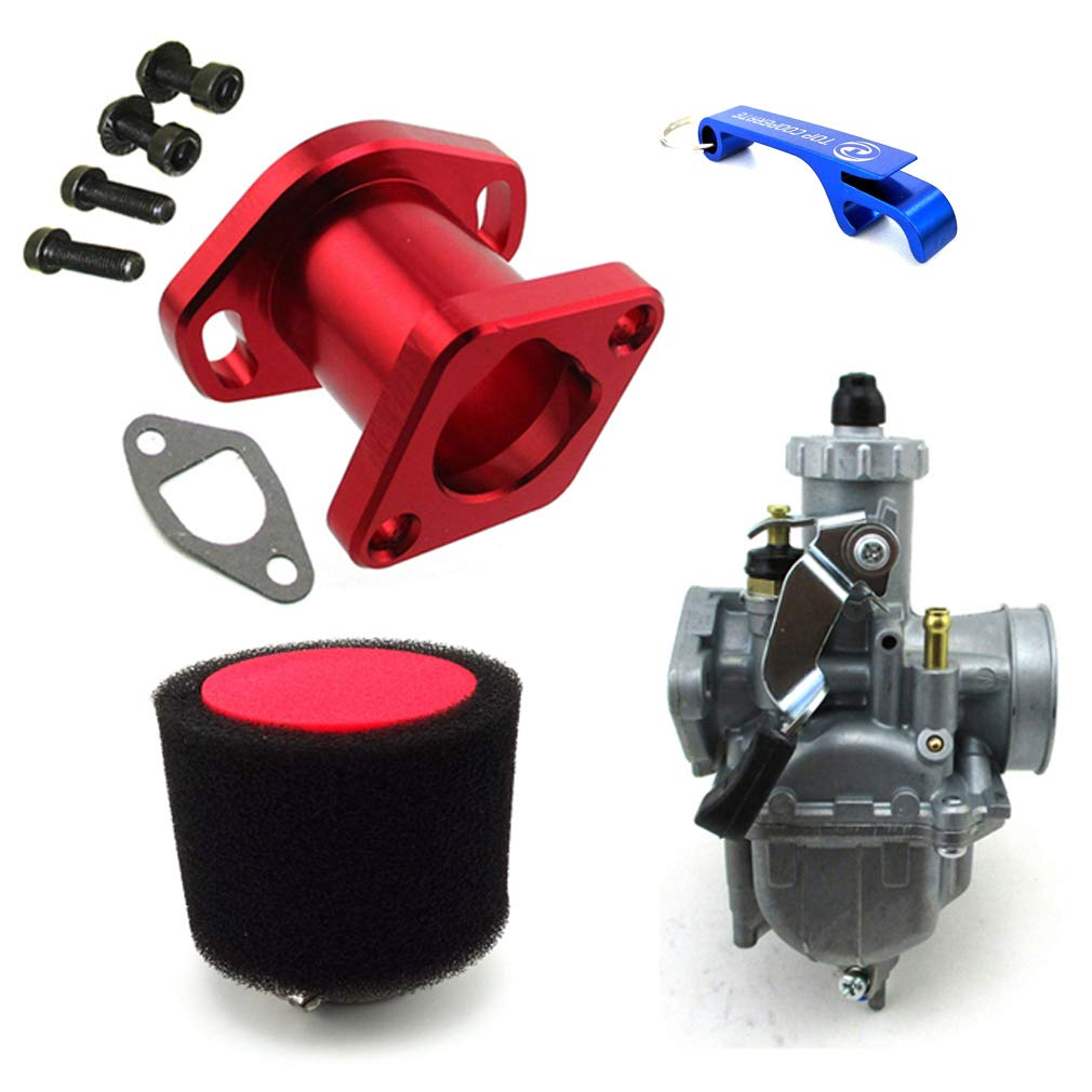 TC-Motor Racing Performance Carburetor Carb Mainfold Air Filter For Predator 212cc GX200 196cc Mini Bike Go Kart (Red)