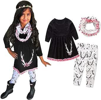 ModnToga Kids Girls Winter Tunic Dress Pants Scarf 3PCS Clothes New Outfits Set