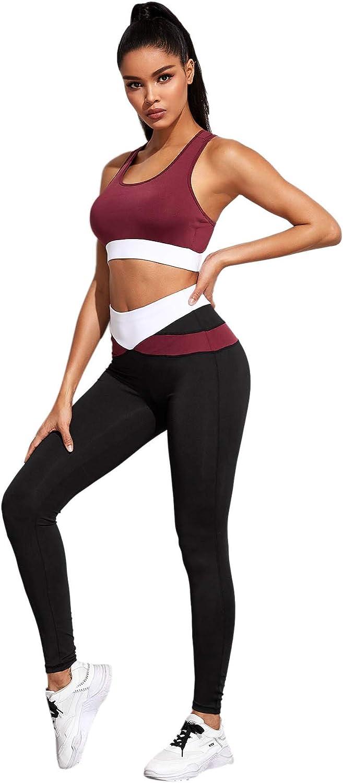 Milumia Women 2 PCS Colorblock Outfit Sporty Exercise Zipper Sport Bra Legging Set