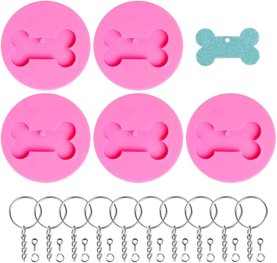 5PCS Dog Bone Silicone Mold Cute Keychain Mould with 10PCS Keyrings Perforated Resin Clay Mold Topper Keychain Decor Dog Tag Making Homemade Fondant Cake Chocolate Mold Crafts Tools (Pink Version)
