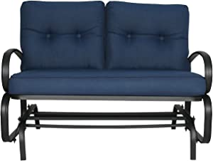 Patio Glider Bench Loveseat Outdoor Cushioned 2 Person Rocking Seating Patio Swing Chair, Navy