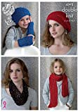 King Cole Ladies & Girls Hat, Scarf & Snood Smooth Knitting Pattern 4393 DK by King Cole