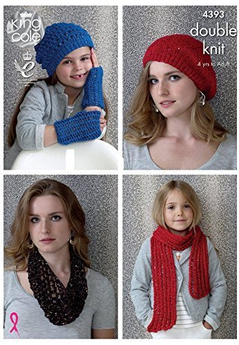 King Cole Ladies & Girls Hat, Scarf & Snood Smooth Knitting Pattern 4393 DK by King Cole by King Cole