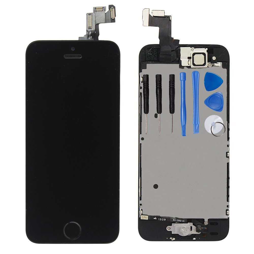 For iPhone 5s Digitizer Screen Replacement Black - Ayake 4'' Full LCD Display Assembly with Home Button, Front Facing Camera, Earpiece Speaker Pre Assembled and Repair Tool Kits