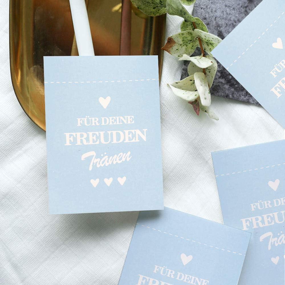 Sinoest 100 Freudentr/änen Geschenkt/üten /& Sticker Taschentuch f/ür die Freudentr/änen Taschent/ücher Hochzeitstaschent/ücher f/ür Vintage Hochzeit Mitgebsel Schmuck umweltfreundlich