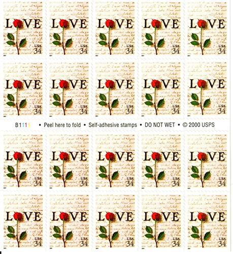 Red Rose and Love Letters Pane of Twenty 34 Cent Postage Stamps Great For Weddings Scott 3497 By USPS ()