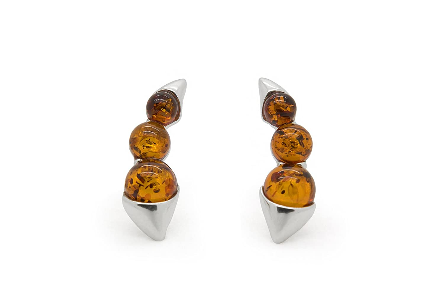 6e5397d76 Amazon.com: 925 Sterling Silver Climber / Crawler Stud Earrings with Cognac  Genuine Natural Baltic Amber.: Jewelry