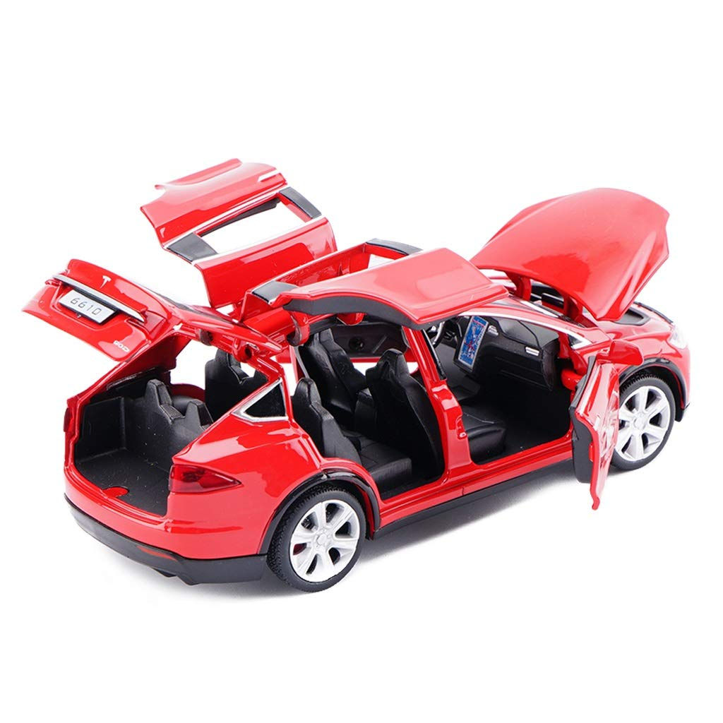 JIANPING Modellauto Tesla X Gel/ändewagen 1:32 analoger Druckgusslegierungsklang und Licht ziehen Spielzeugmodellauto zur/ück Modellauto Farbe : Blau