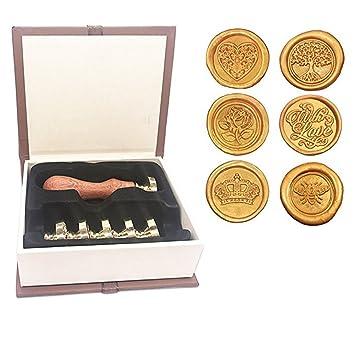ToyMYTOY - Sellos de cera con sello para sobres (6 sellos y ...