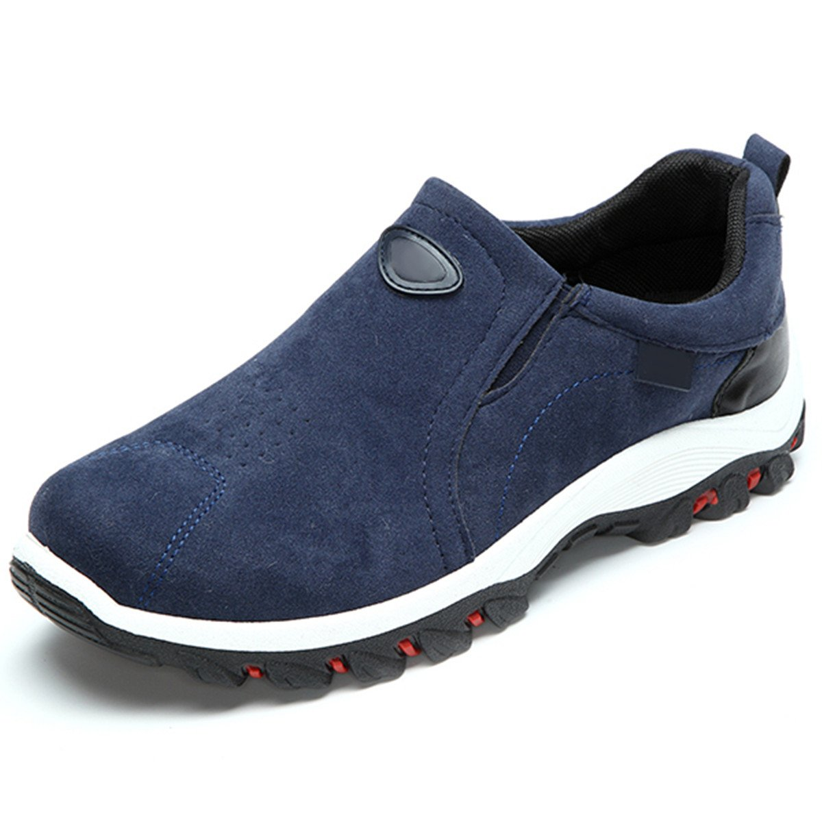 gracosy Suede Hiking Sneaker,Athletic Loafer Casual Outdoor Flat Non-Slip Elderly Walking Breathable Shoes