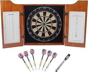 Solid Wood Dartboard Cabinet Set with Bristle Dartboard and 6 Steel Tip Darts (Oak)