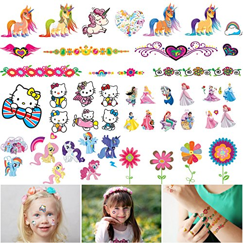 Nail Temporary Tattoos (Temporary Tattoo for Kids - 500PC Girl Tattoos and Nail Stickers Set,My Little Pony,Disney Princess,Butterflies,Flowers etc,Party Favors for Kids (6 x 4inch Large Tattoos Bulk))