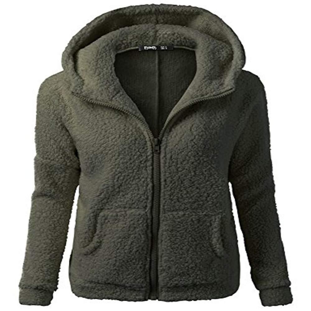 a006b49fec3a9 Cywulin Women's Hooded Cardigan Sweaters Blazer Sherpa Fleece Jackets Soft  Furry Faux Fur Zip Up Coat Warm Parka Outwear at Amazon Women's Clothing  store: