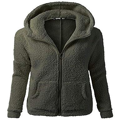 8ec96c49ac3 Cywulin Women's Hooded Cardigan Sweaters Blazer Sherpa Fleece Jackets Soft  Furry Faux Fur Open Front Coat