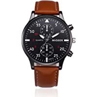 Longra☀☀ Reloj de moda, Aleación de correa de diseño retro analógico Shi Ying reloj de los hombres (marrón)