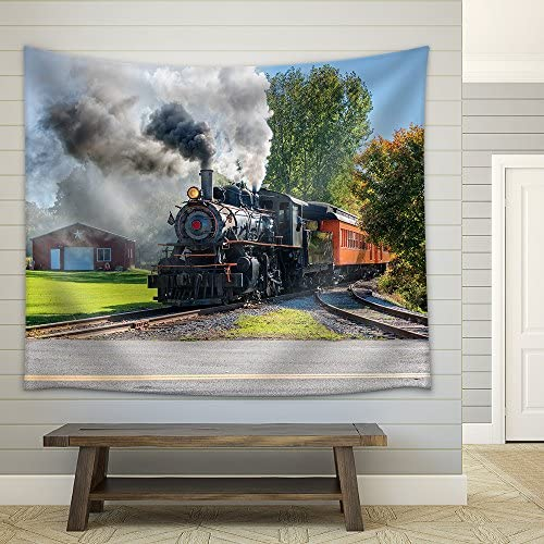 Old Vintage Steam Engine Arriving at The Train Depot Fabric Wall