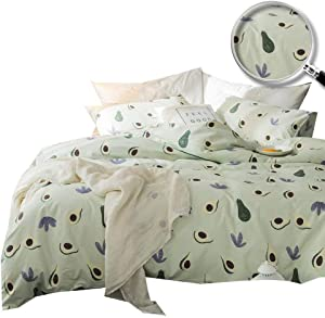 XUKEJU 100% Cotton Soft Children Duvet Cover Set Fruits Pattern Avocado Reversible Boys Girls Bedding Set 3 Pieces with 2 Pillow Cases Best Bedding Gifts for Kid Twin