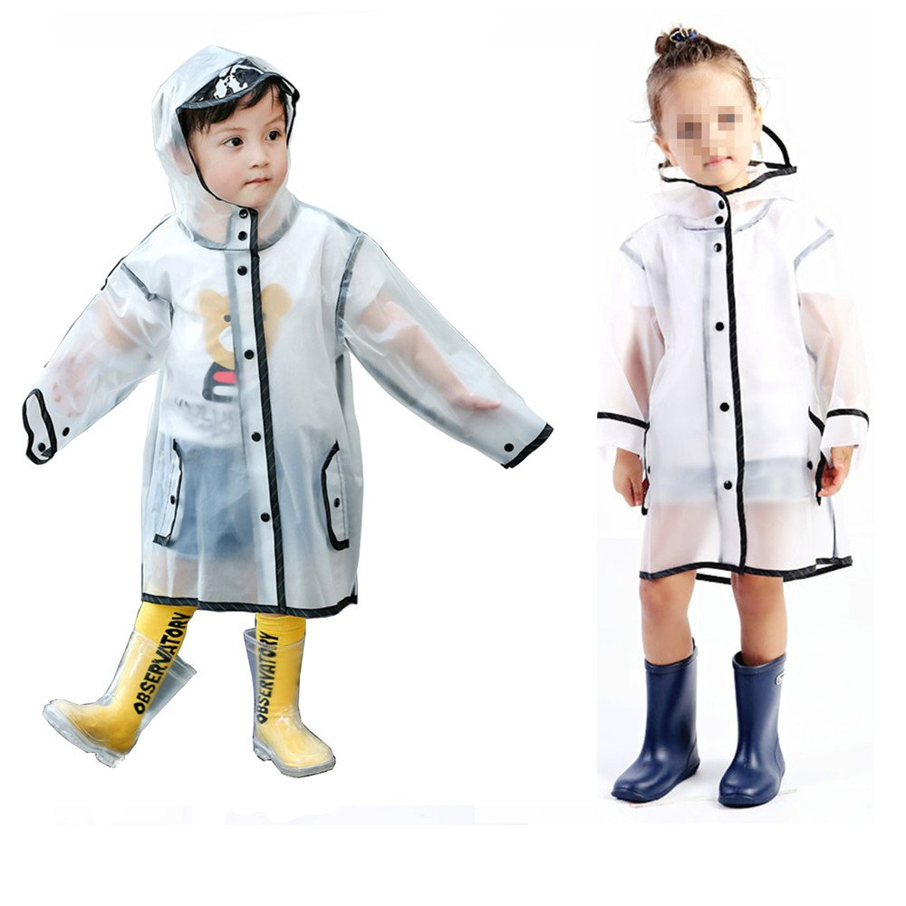 Gigabit Kids Raincoat Clean Rain Coat Jacket Poncho for Boys Girls