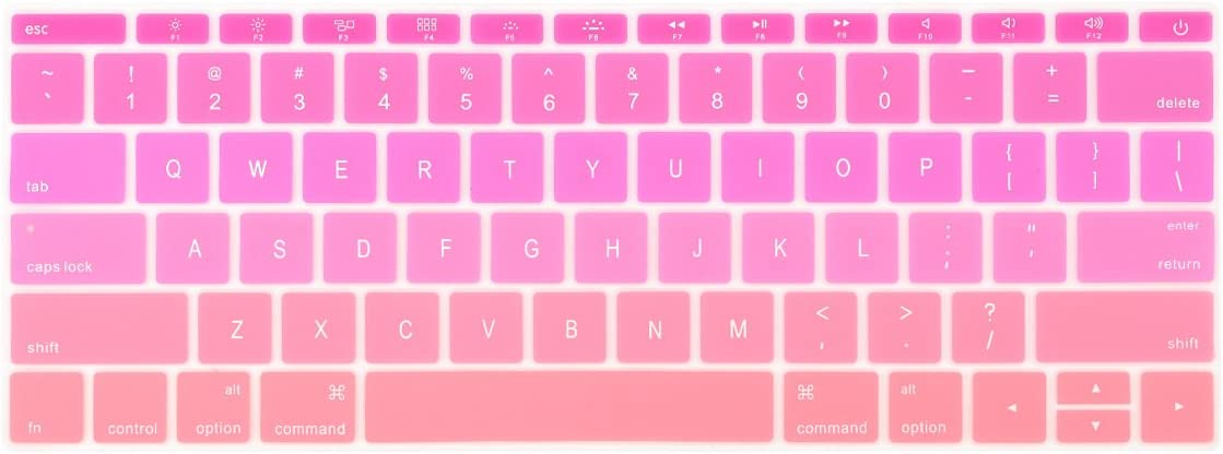 Batianda Ombre Color Keyboard Cover for New MacBook Pro 13 inch A1708 (No Touch Bar) 2017 & 2016 Release & MacBook 12 inch A1534 Silicone Protective Skin (Gradient Pink)