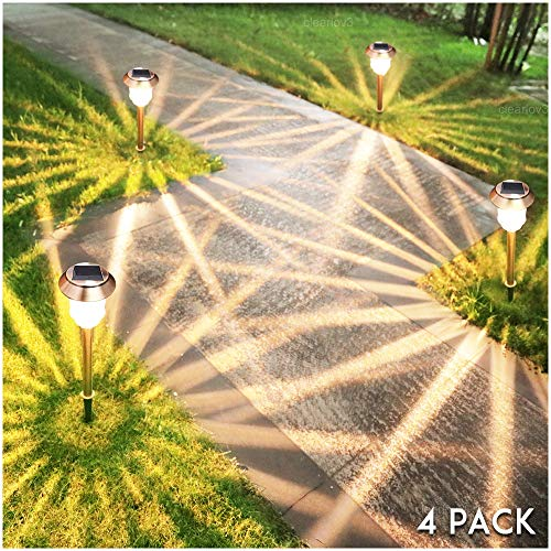 UPSTONE Solar Pathway Garden Lights Outdoor Super-Bright 12-32 Lumens,Solar Landscape Lights for Lawn Patio Yard Pathway Walkway, All-Weather/Water-Resistant, 4 Pack