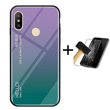 PANXIYUE Funda Xiaomi Mi A2 Lite,Carcasas de Vidrio en Color Degradado para Xiaomi Mi A2 Lite