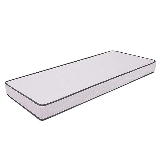Ailime Waterfoam H12 - Colchón para cama, poliuretano, 80 x 190 x 12 cm, color blanco con ribete gris
