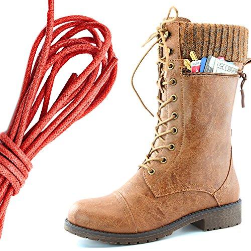 Dailyshoes Womens Bekämpa Stil Snörning Fotled Toffeln Rund Tå Militära Sticka Kreditkorts Kniv Pengar Plånbok Ficka Stövlar, Röd Solbränna Pu
