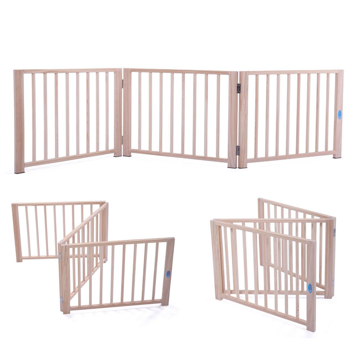 JAXPETY 17.5'' Baby Gate Indoor Fence Barrier Standing Wood Folding Safety 3 Panel Pet