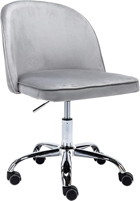 Swivel Office Chair Adjustable Fabric Small Home Computer Desk Stool Grey