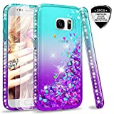 LeYi Case for Samsung Galaxy S7 with Glass Screen Protector [2 pack], Glitter Liquid Flow Luxury Clear Transparent Diamond Personalised TPU Silicone Shockproof Cover Samsung S7 G930 Turquoise Purple