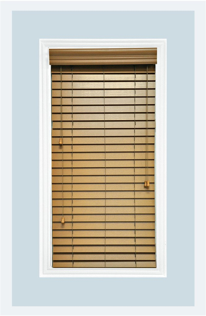 Delta Blinds Supply Custom-Made, Faux Wood Horizontal Window Blinds, 2 Inch Slats, Pecan, Inside Mount