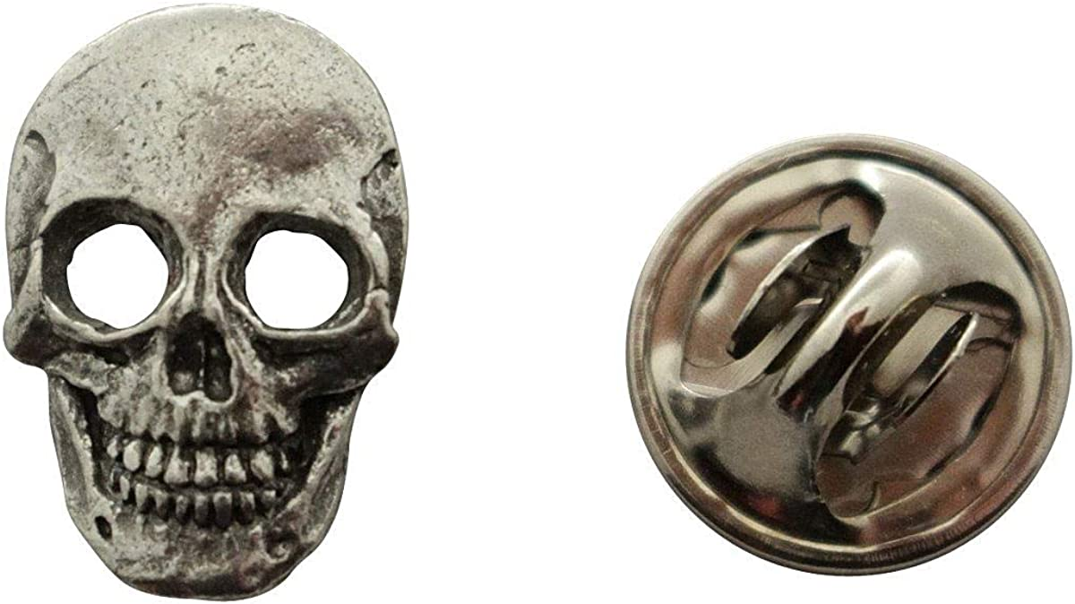 Horns And Skull Silver Pewter Pin Badge With A Beautiful Satin Gift Bag