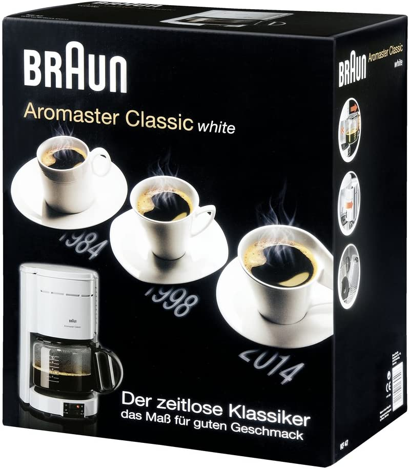 Braun KF47W Cafetera De Goteo, 1000 W, 10 Tazas, Plástico/Vidrio ...