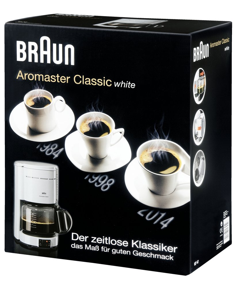 Braun automatic coffee maker Aromaster KF 47 plus for 10 cups - white Braun GmbH Braun KF 47