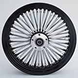 Black and Chrome Ultima King Spoke 16'' x 3.5'' Rear Wheel for 2000-2006 Harley and Custom