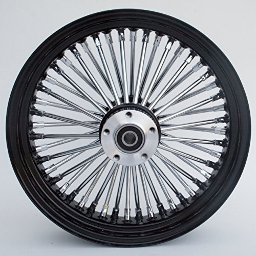 Black and Chrome Ultima King Spoke 16'' x 3.5'' Rear Wheel for 2000-2006 Harley and Custom by Ultima