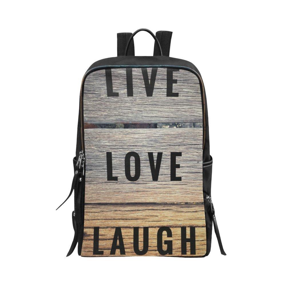 InterestPrint Motivational and Inspirational Quotes Live Love Laugh Unisex School Bag Outdoor Casual Shoulders Backpack Travel Daypacks for Women Men Kids